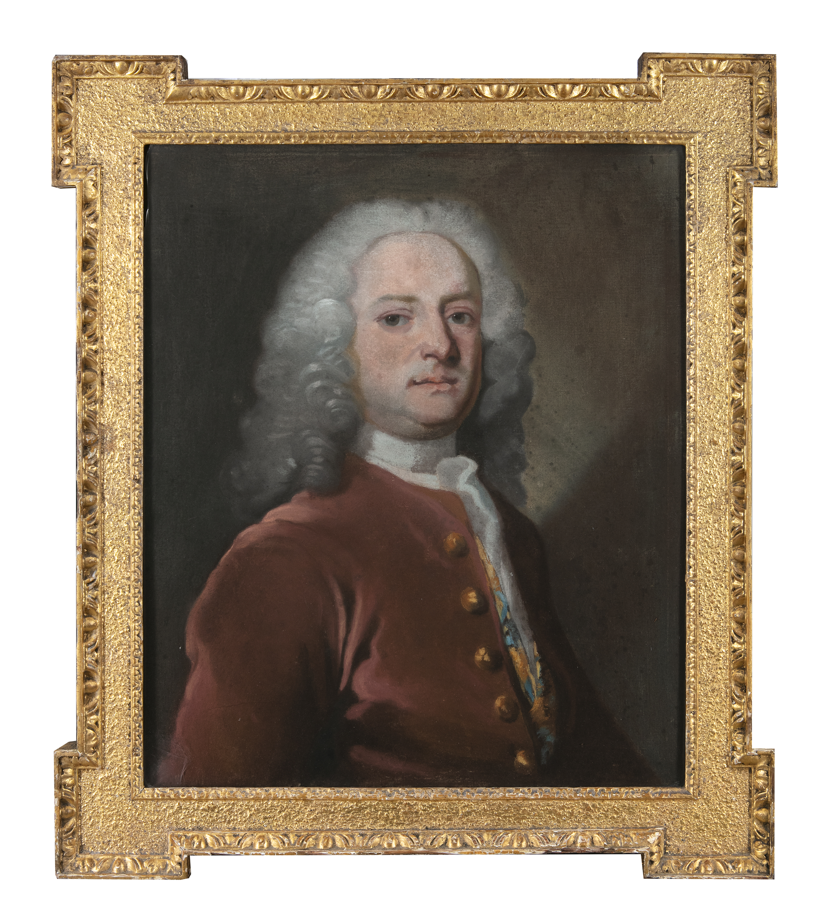 Lot 508 - FRENCH SCHOOL (18TH CENTURY) Portrait of a Gentleman, Wearing a Velvet Jacket and a Grey Wig Pastel,