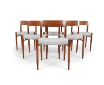 NIELS OTTO MOLLER A set of 6 'Model 75' Danish chairs by Niels Otto Moller, Denmark. c. 1960. 74 x