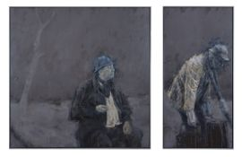 Cian McLoughlin (b.1973) Pozzo and Lucky Diptych, oil on canvas, 188 x 274cm Signed Provenance:
