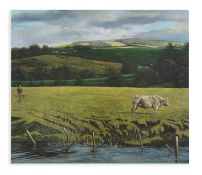 MARTIN GALE RHA (b.1949) The Bull and the River Oil on canvas, 91.5 x 107cm Signed and dated 2002