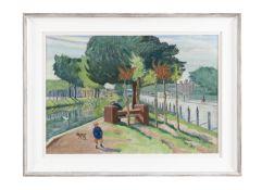Harry Kernoff RHA (1900-1974) Canal, Wilton Place, Dublin Oil on board, 52 x 75.5cm (20½ x 29¾'')
