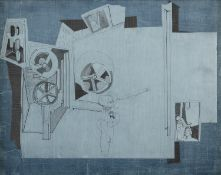 Nevill Johnson (1911-1999) Blue Collage Acrylic and collage, 41 x 52cm (16 x 20½'') Signed and dated
