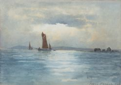 William Percy French (1854-1920) Sailing Boats off the Coast Watercolour, 17 x 25cm (6¾ x 9¾'')