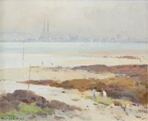 Maurice C. Wilks RUA ARHA (1910-1984) Misty Evening across Dublin Bay Oil on board, 24 x 30cm (9½