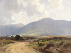 Frank McKelvey RUA RHA (1895-1974) The Donegal Mountains Oil on board, 44.5 x 59.5cm (17½ x 23½'')