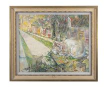Mary Swanzy HRHA (1882-1978) Cat in the Suburbs Oil on board, 50 x 60cm (20 x 24'') Exhibited: