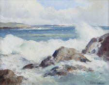 Maurice C. Wilks RUA ARHA (1910-1984) Seas from the Atlantic, Mannin Bay Oil on canvas, 34 x 44cm (
