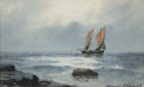 William Percy French (1854-1920) Coastal Scene Watercolour, 13 x 21cm (5 x 8¼'') Signed