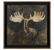 Barrie Cooke HRHA (1931-2014) Study - Romantic Elk Oil on board, 45.5 x 45.5cm (18 x 18'') Signed,