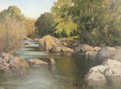 Maurice C. Wilks RUA ARHA (1910-1984) September Day, Cushendun River Oil on Canvas, 45 x 60cm (17¾ x