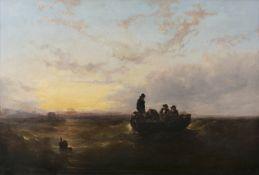Attributed to Edwin Hayes RHA RI ROI (1819-1904) Fishermen Setting Pots in Dublin Bay Oil on canvas,