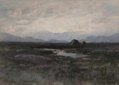 William Percy French (1854 - 1920) Bogland Scene Watercolour, 17 x 24cm (6¾ x 9½'') Signed