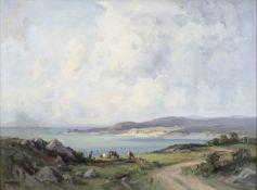 Frank McKelvey RHA RUA (1895-1974) Figure with Cattle in Coastal Landscape Oil on canvas, 50 x