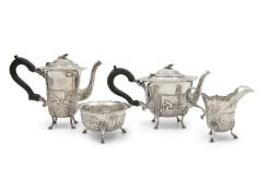 AN IRISH SILVER 'DAIRY MAID' PATTERN FOUR PIECE TEA AND COFFEE SERVICE, Dublin 1981, comprising a
