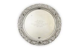 AN IRISH CELTIC REVIVAL SILVER PRESENTATION SALVER, Dublin 1924, mark of West & Sons, inscribed '