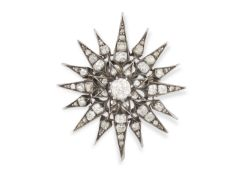 A LATE 19TH CENTURY DIAMOND STAR BROOCH/PENDANT, CIRCA 1890 Set with a central old brilliant-cut