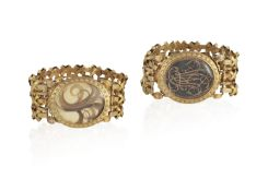 A PAIR OF LATE 18TH CENTURY MOURNING GOLD BRACELETS, CIRCA 1773-1781, FRENCH Each basket-weave