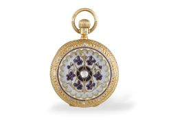 A VICTORIAN LADY'S DIAMOND AND ENAMEL FULL CASE POCKETWATCH, BY J. WALTHAM, 1886 Of manual wind