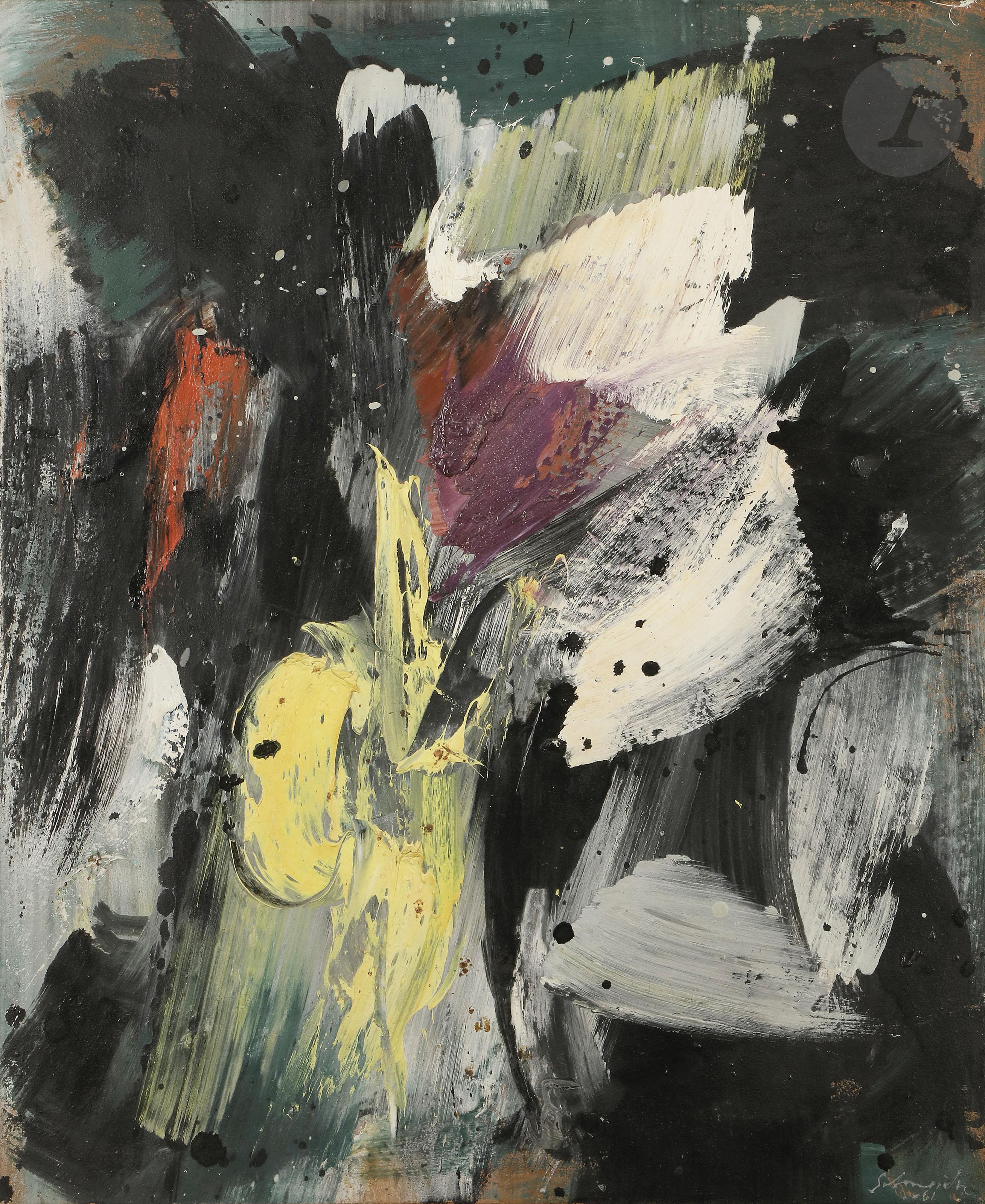 Lot 54 - *Gérard SCHNEIDER (1896-1986)Opus 13F, 1961Huile sur toile.Signée et datée en bas à droite.Titrée et