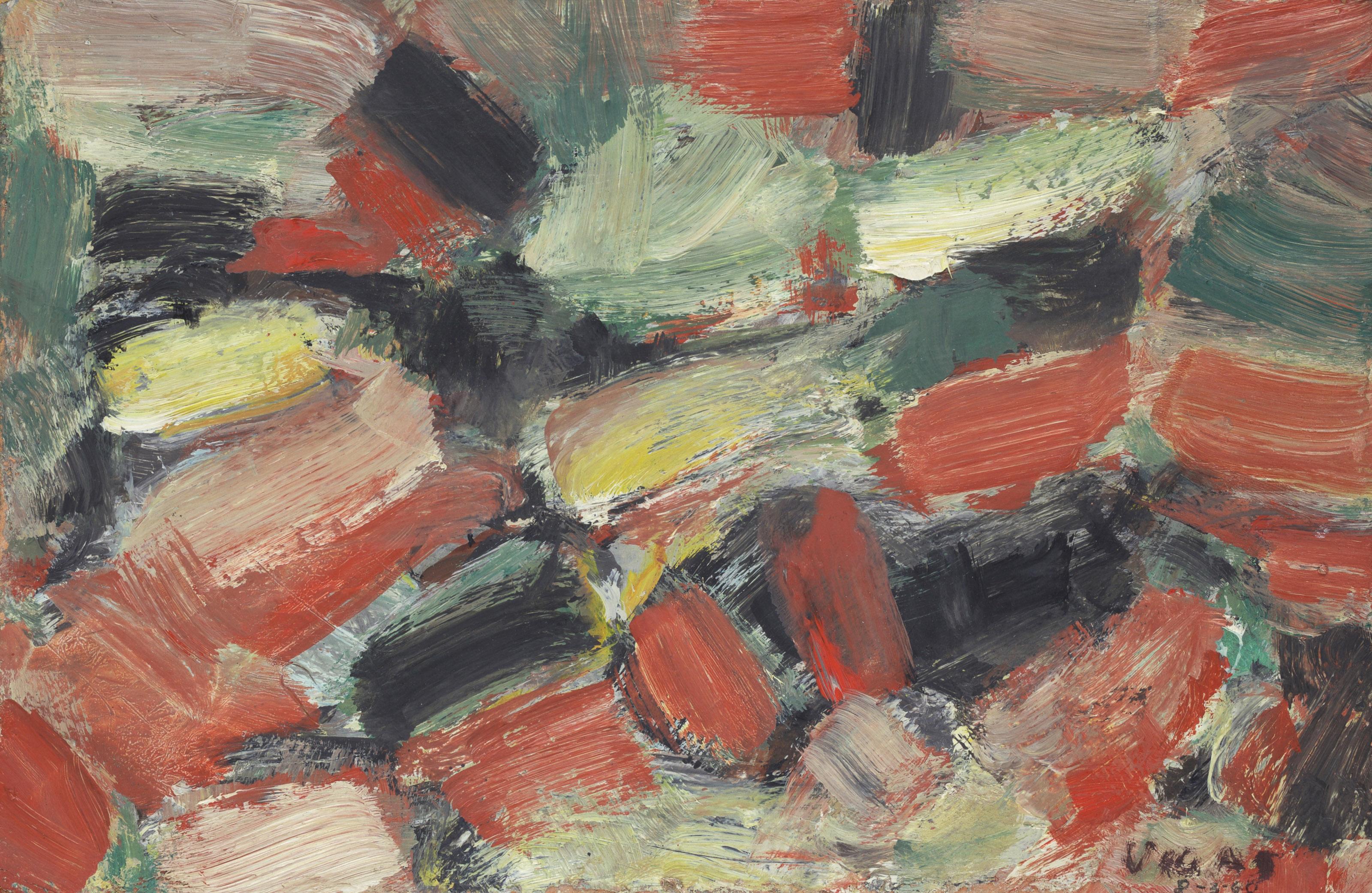 Lot 32 - Oswaldo VIGAS [vénézuélien] (1923-2014)Composition, 1960Huile sur carton.Signée et datée en bas à