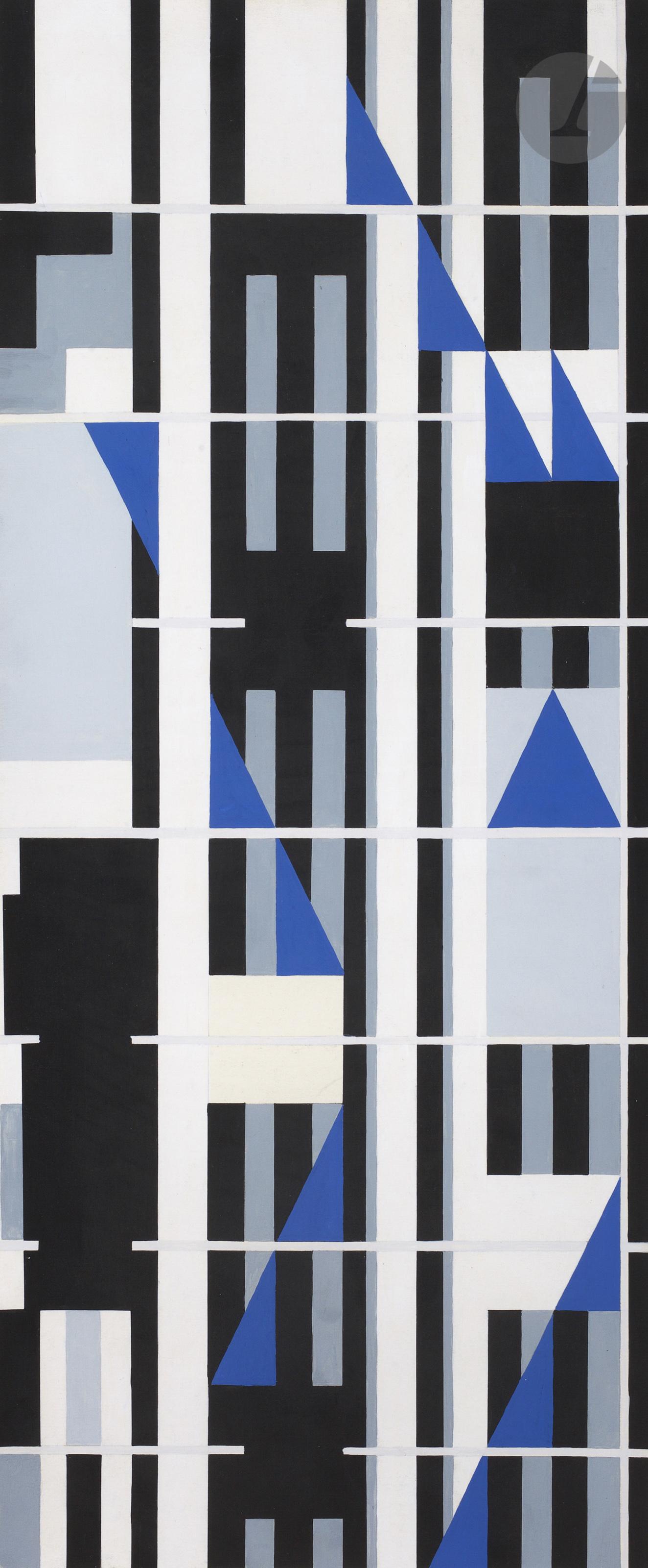 Lot 43 - Georges FOLMER (1895-1977)Composition, 1956Gouache.Signée et datée au dos.60 x 25 cmProvenance :