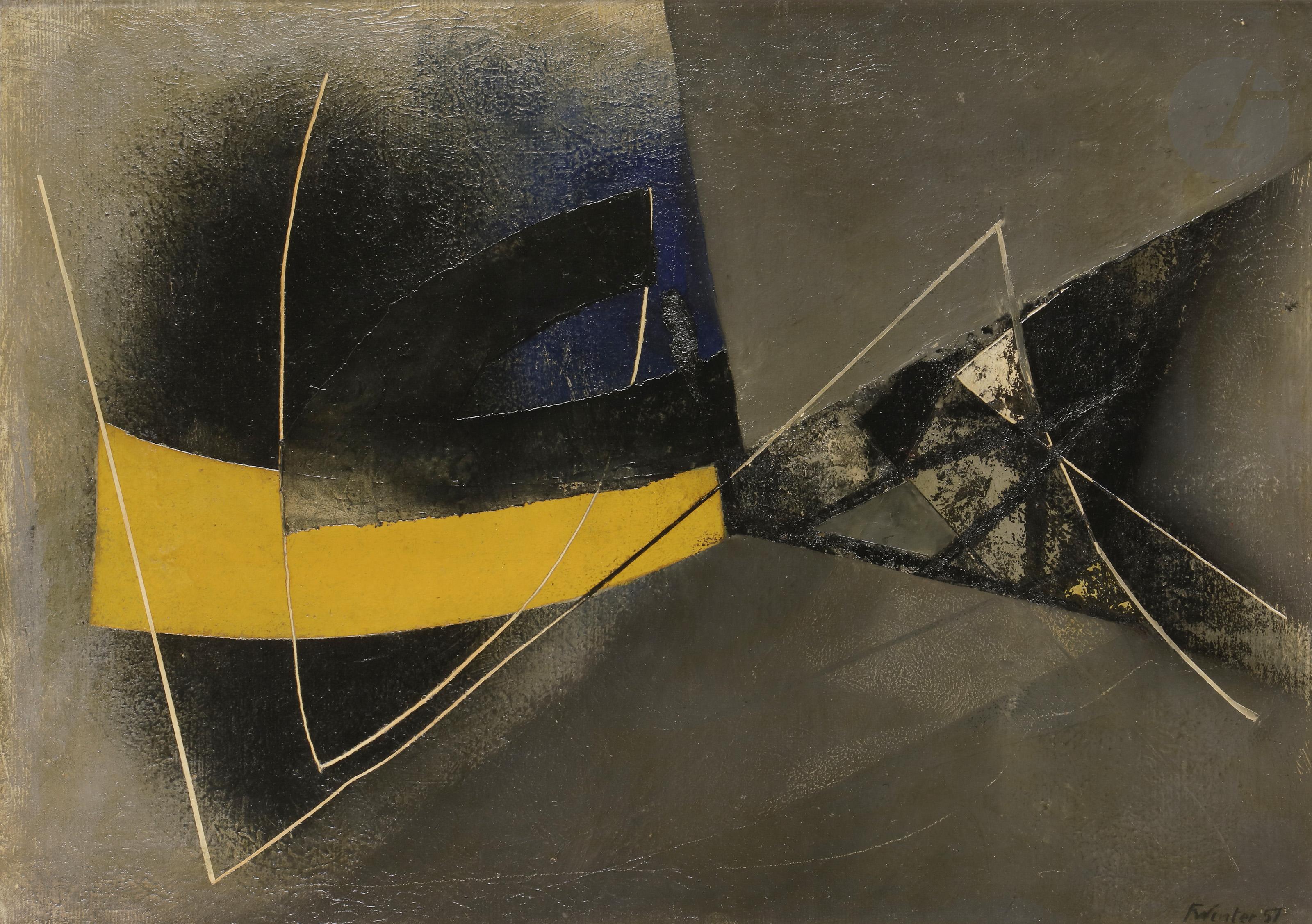 Lot 50 - Fritz WINTER [allemand] (1905-1976]Composition, 1957Huile sur papier monté sur isorel.Signée et