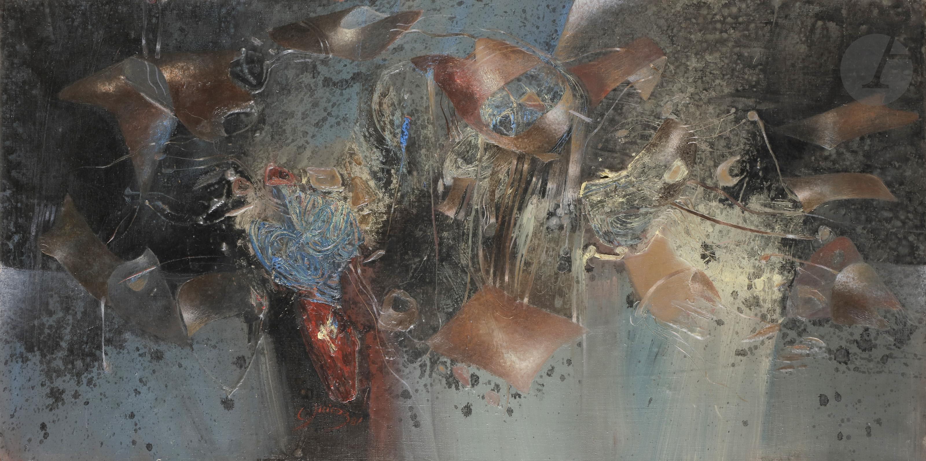 Lot 37 - Rodolfo QUIROZ [péruvien] (né en 1942)Composition, 1981Huile sur toile.Signée et datée au dos.Signée