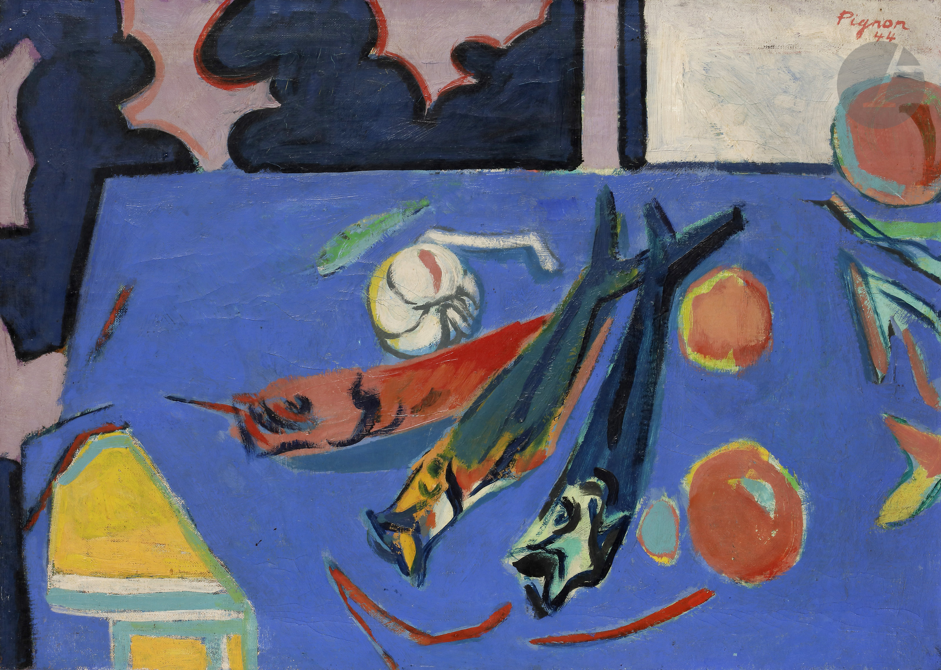 Lot 2 - Edouard PIGNON (1905-1993)La Table bleue, 1944Huile sur toile.Signée et datée en haut à droite.