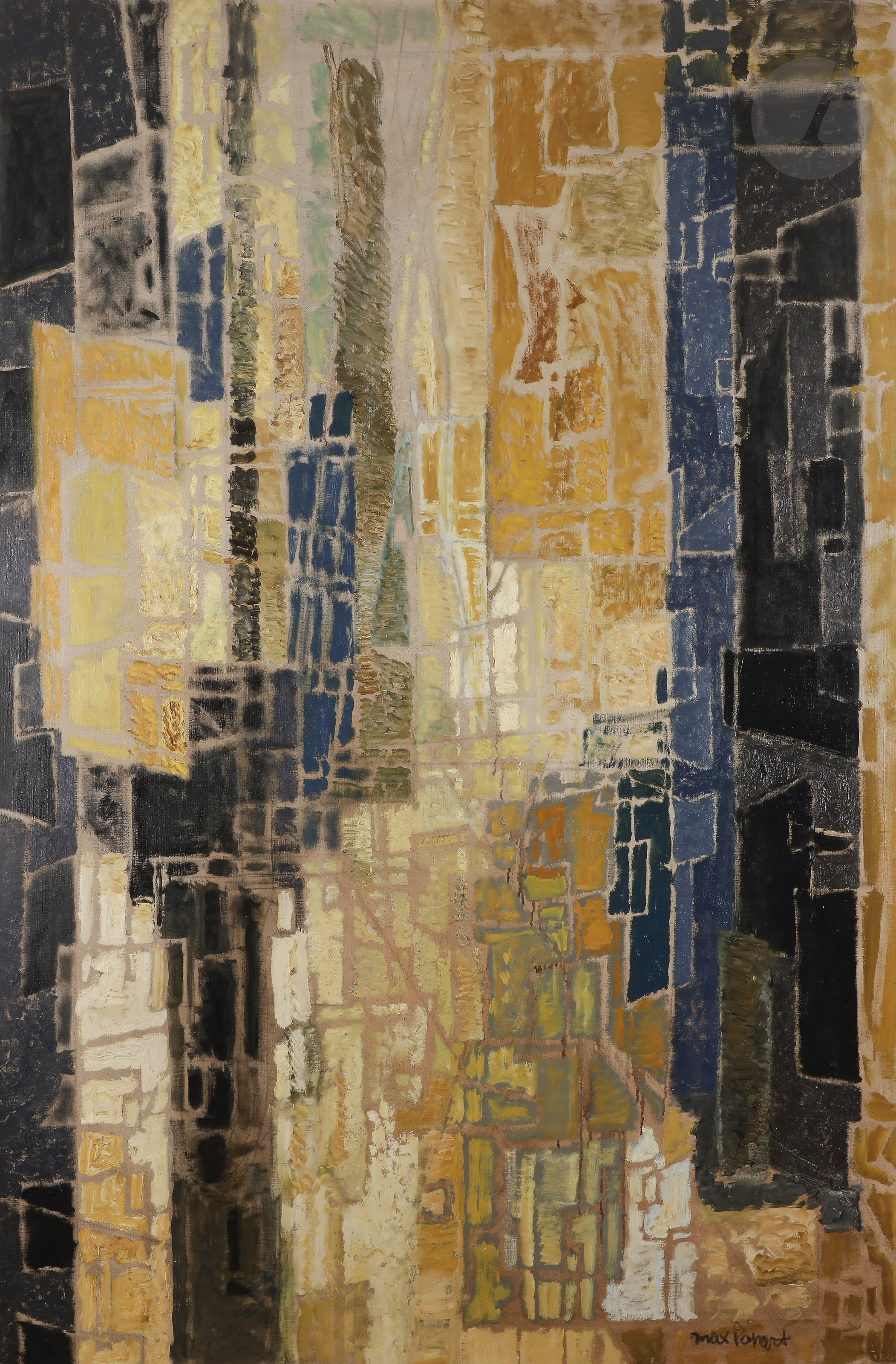 Lot 45 - Max PAPART (1911-1994)Espace urbain, 1958Huile sur toile.Signée en bas à droite.Signée, datée et
