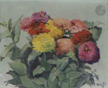 Konstantin Konstantinovitch KLUGE (1912-2003) Bouquet de fleurs Huile sur toile. Signée en bas à