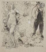 David Osipovitch WIDHOPFF (1867-1933) Allégorie de la vigne en larmes Fusain et rehaut de gouache