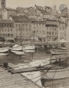 Serge KISLAKOFF (1897-1980) Cannes, le vieux port, 1962 Encre et lavis d'encre. Signée et datée en