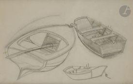 Boris Dimitrevitch GRIGORIEV (1886-1939) Barques, 1921 Fusain. Monogrammé en bas à droite.