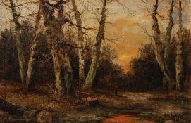 Yuliy Yulevich KLEVER (1850-1924) Ramasseuse de bois au coucher du soleil, 1916 Huile sur toile.