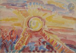 *Nicolas Alexandrovitch TARKHOFF(1871-1930)SoleilAquarelle.Porte le timbre de l'atelier en bas à