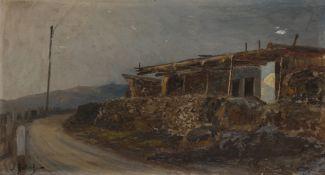Leonid Demianovitch BLINOV (1867-1903) Saklia à Aloupka (Crimée) Huile sur carton. Signée en bas à