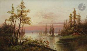 Yuliy Yulevich KLEVER (1850-1924) Vue sur le lac au soleil couchant, 1881 Huile sur toile. Signée et