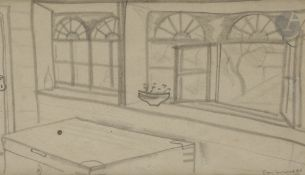 Boris Dimitrevitch GRIGORIEV (1886-1939) L'Atelier, vers 1917-1919 Fusain. Signé et daté en bas à