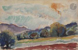 Nicolas Alexandrovitch TARKHOFF(1871-1930)Le labour au soleil couchant, c. 1925Aquarelle.Signée en