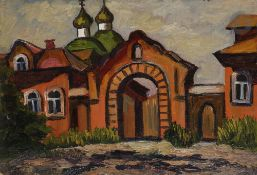 Galina Viktorovna MALTSEVA (née en 1953) Entrée de monastère Huile sur carton. Signée en bas à