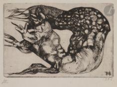 Ernst Iossifovitch NEIZVESTNY (1925-2016) Limace monstrueuse, 1976 Eau-forte. Monogrammée en bas à