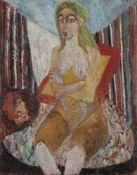 Natta Ivanovna KONYCHEVA (née en 1935) Femme aux cheveux verts. Huile sur carton. Signée et
