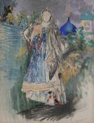 Filipp Andreevitch MALIAVIN (1869-1940) Femme au châle Technique mixte sur papier. Signée en bas à