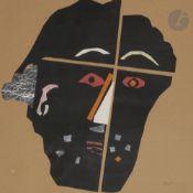 Vladimir Sergueevitch SOULYAGUIN (né en 1942) Visage, 1990 Collage. Monogrammé et daté en bas à