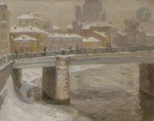 Alexandre Borissovitch POPOV (né en 1951) Hiver à Moscou, 1984 Huile sur toile. Signée, datée et
