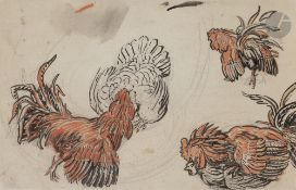 *Nicolas Alexandrovitch TARKHOFF(1871-1930)Étude de coqsEncre et aquarelle sur papier contrecollé