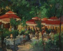 Serge KISLAKOFF (1897-1980) Montmartre sous les parasols rouges Huile sur toile. Signée en bas à