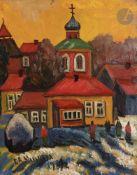 Galina Viktorovna MALTSEVA (née en 1953) Femmes se rendant aux vêpres Huile sur carton. Signée et