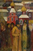 Galina Viktorovna MALTSEVA (née en 1953) Conciliabule de prêtres, 1989 Huile sur isorel. Signée en