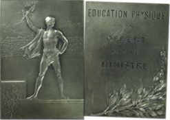 "Winner's Medal: Olympic Games 1900. Silverd - ""Education Physique. Offert par le Ministre""."